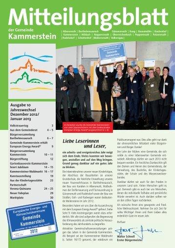 Mitteilungsblatt Dezember 2012 (PDF) - Gemeinde Kammerstein