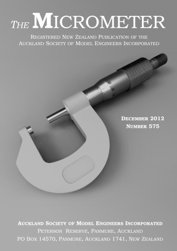 December 2012 - Number 575 - Auckland Society of Model Engineers