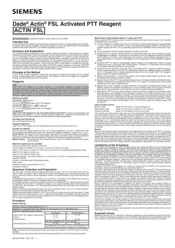 Dade® Actin® FSL Activated PTT Reagent [ACTIN____FSL]