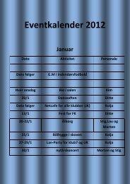 Event kalender 2012 - Klub 144
