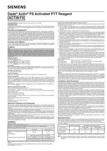 Dade® Actin® FS Activated PTT Reagent [ACTIN__FS]