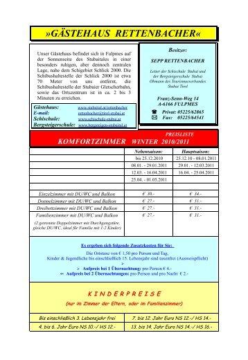 GÄSTEHAUS RETTENBACHER« - Stubaital