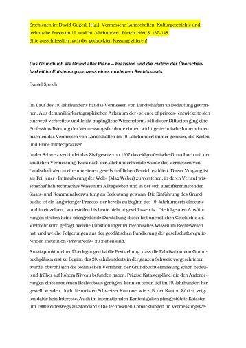 Erschienen in: David Gugerli (Hg.): Vermessene Landschaften ...