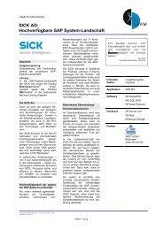 SICK AG: Hochverfügbare SAP System-Landschaft - smc-bb.de
