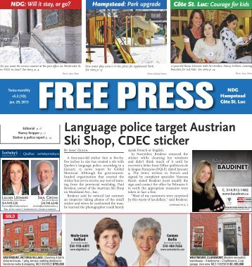 January 29 th edition of the Free Press
