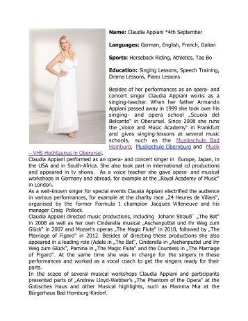 Claudia Appiani *4th September Languages: German, English ...