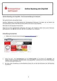 Anleitung chipTAN - Kreissparkasse Gelnhausen