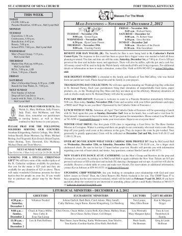 November 25, 2012 - Saint Catherine of Siena Parish