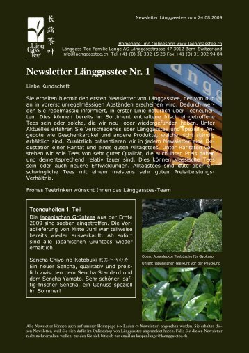 Newsletter Länggasstee Nr. 1