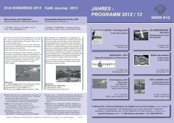 JAHRES - PROGRAMM 2012 / 13 - Werk für Evangelisation und ...