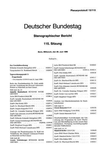 Stenographischer Bericht 115. Sitzung - Deutscher Bundestag