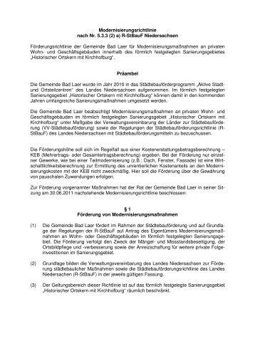 Modernisierungsrichtlinie - Gemeinde Bad Laer