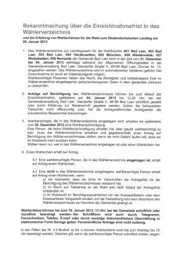Bekanntmachung - Gemeinde Bad Laer