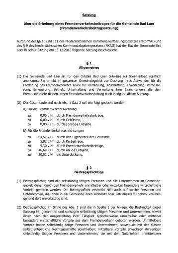 Fremdenverkehrsbeitragssatzung - Gemeinde Bad Laer