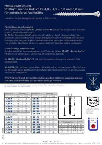 Montageanleitung SIHGA® Lärchen GoFix® FK 4,0 ٠ 4,5 ٠ ... - Zoznam