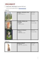1 • Holz Kreativ, Willy Wenger, Postfach 40 3995 Ernen Land-Art ...