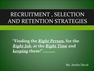 recruitment , selection and retention strategies - Caribbean Tourism ...