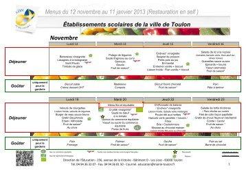 Menus du 12 novembre au 11 janvier 2013 - Mairie de Toulon