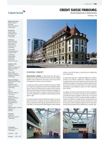 CREDIT SUISSE FRIBOURG - CONCOURS