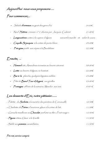 Aujourd'hui nous vous proposons - Restaurant La Coquille à ...