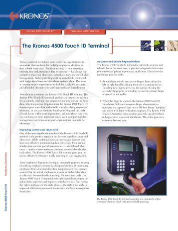 The Kronos 4500 Touch ID Terminal