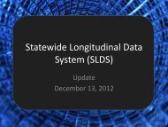 (SLDS) Update - the State Board of Education