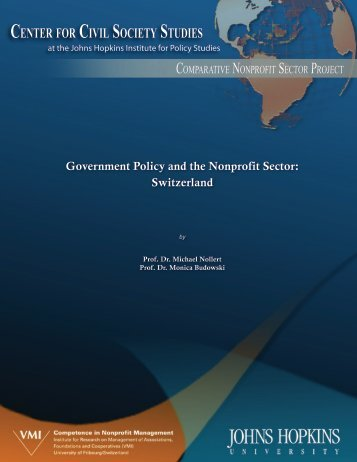 Government Policy and the Nonprofit Sector: Switzerland - VMI