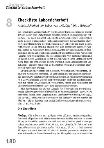 Checkliste Laborsicherheit - BuFaTa Chemie
