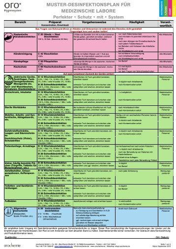desinfektionsplan fr medizinische labore orochemie gmbh co - Schuldenbereinigungsplan Muster