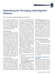 Neuordnung der Versorgung nephrologischer Patienten