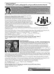 Arbeit und Beruf - Fortbildung für soziale, pädagogische und ...