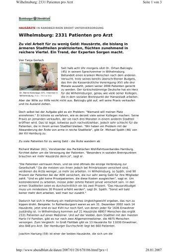Wilhelmsburg: 2331 Patienten pro Arzt - Zukunft Elbinsel ...