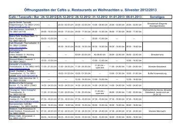 Öffnungszeiten der Cafés u. Restaurants an ... - Bad Füssing