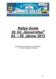 Rallye Guide 30. Int. Jännerrallye 03. – 05. Jänner 2013