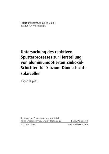 Untersuchung des reaktiven Sputterprozesses zur Herstellung von ...