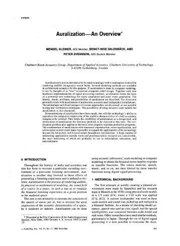 Auralization An Overview* - Matt Montag