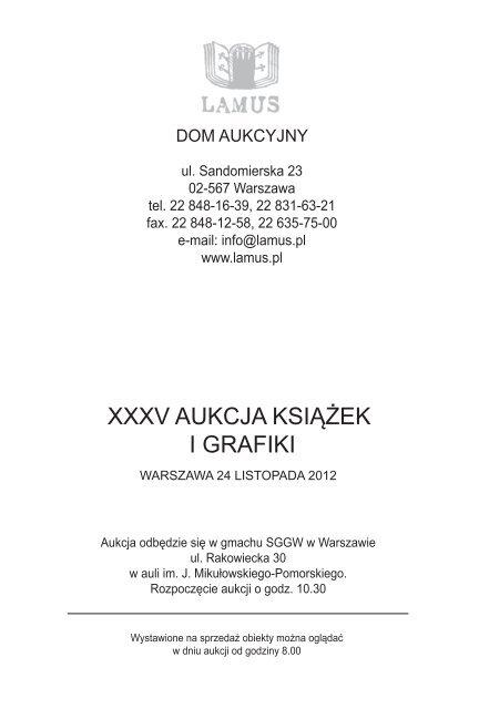 Xxxv Aukcja Książek I Grafiki