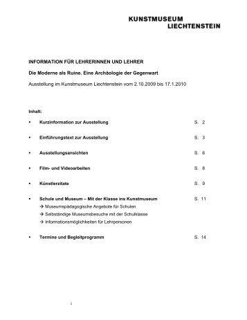 Lehrermappe Matti Braun - Kunstmuseum Liechtenstein
