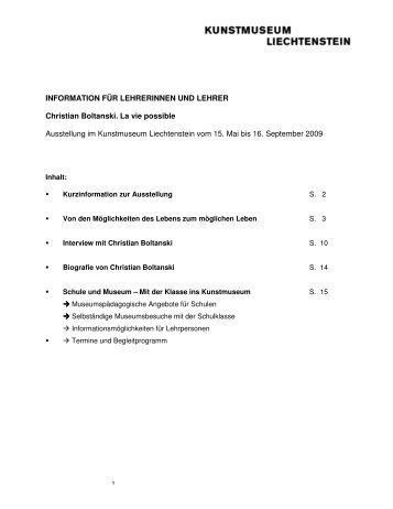 Lehrermappe Boltanski - Kunstmuseum Liechtenstein