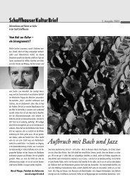 Aufbruch mit Bach und Jazz - Credit Suisse eMagazine