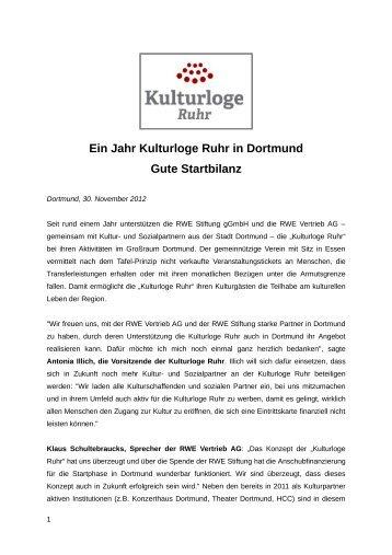 Ein Jahr Kulturloge Ruhr in Dortmund Gute Startbilanz