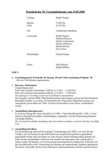 Protokoll der 39. Vorstandssitzung vom 19.05.2009
