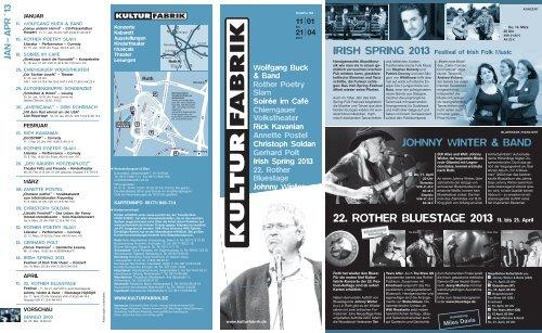 22. ROTHER BLUESTAGE 2013 11. bis 21. April - Kulturfabrik