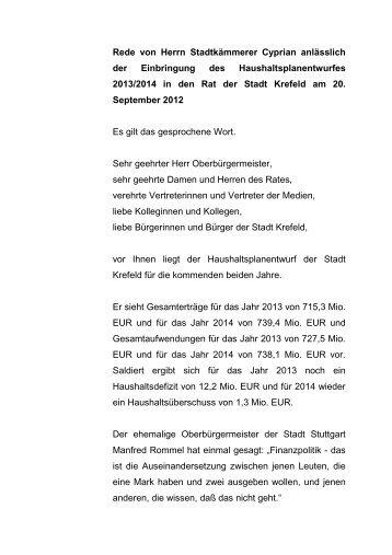 Etatrede von Herrn Stadtkämmerer Cyprian - Krefeld