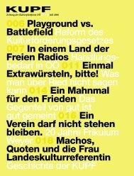 006 Playground vs. BattlefieldReform des ... - Kupf