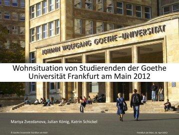 Wohnsituation von Studierenden der Goethe - IWAK Frankfurt