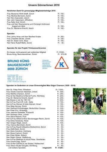 Unsere GönnerInnen 2010 - Freunde des Botanischen Gartens Zürich