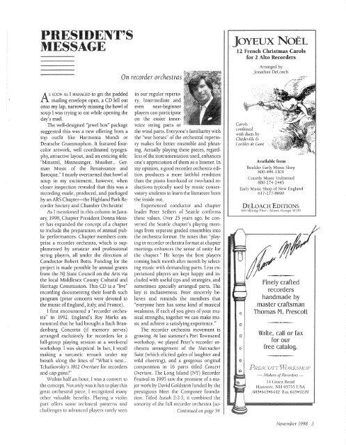 November - American Recorder Society