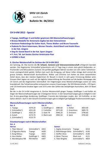SFKV UV Zürich Bulletin Nr. 06/2012 - Unterverband Zürich der SFKV
