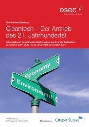 Einladung Cleantech-Event am 20. Oktober 2009 in